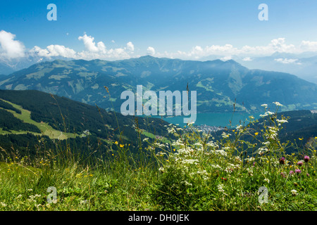 View of Zell am See as seen from Schmittenhoehe mountain, Hohe Tauern mountain range, Austria, Europe - Stock Photo