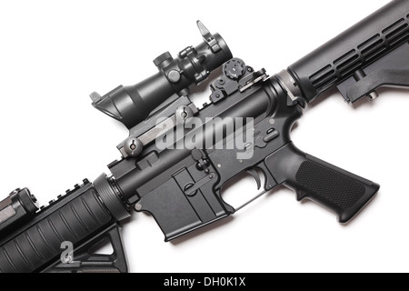 The Black Rifle. Body of AR-15 carbine on white close-up. Studio shot. - Stock Photo