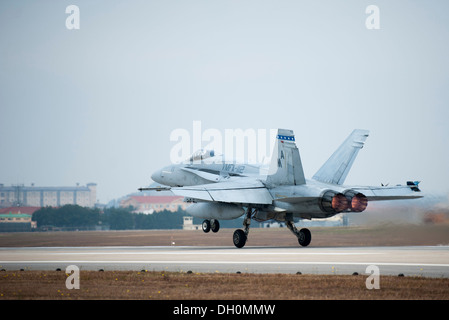 A U.S. Marine F-18 Hornet, from Iwakuni Marine Corps Air Station, Japan, takes off during Max Thunder 13-2 at Kunsan - Stock Photo