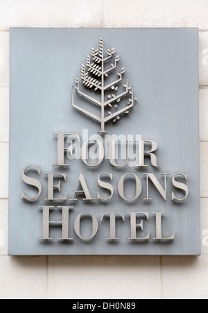 26/10/2013 Four Seasons Hotel. Company Sign, Canary Wharf, Docklands, London, England, UK - Stock Photo
