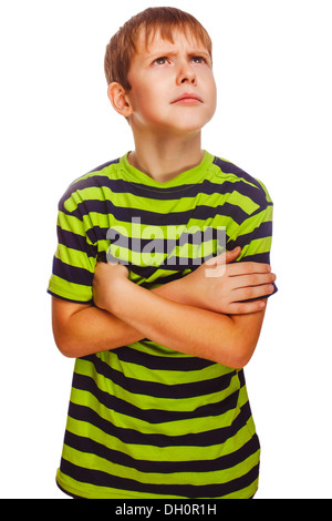 Blond boy in green striped shirt thinking looking up isolated white background - Stock Photo