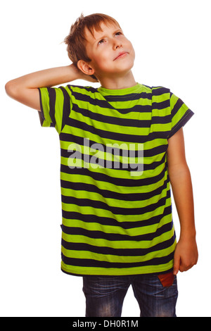 Blond boy in striped green shirt thinks scratching his head hair, tangle isolated white background - Stock Photo