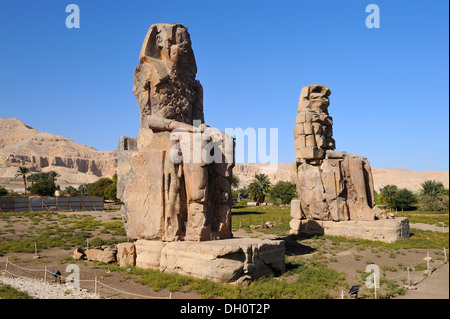 Colossi of Memnon on West Bank of River Nile at Luxor, Egypt - Stock Photo