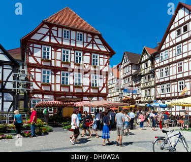 Half-timbered houses in the market square, Eschwege, Werra-Meissner district, Hesse