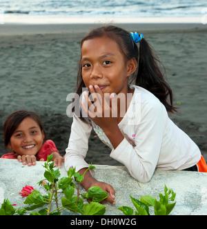 Balinese girls, northern Bali, Bali, Indonesia, Southeast Asia - Stock Photo