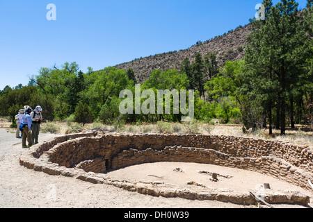 Kiva at Bandelier National, Monument, near Los Alamos, New Mexico, USA - Stock Photo
