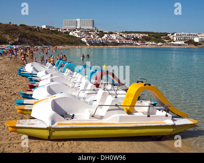 Pedal boats on the beach, Arenal d'en Castell, North Menorca, Menorca Island, Balearic Islands, Spain, Southern - Stock Photo