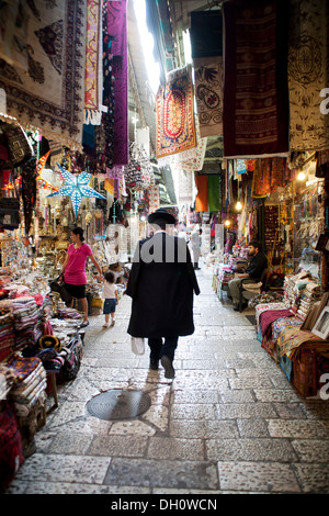 Market in the historic city centre of Jerusalem, historic center, Jerusalem, Jerusalem District, Israel - Stock Photo