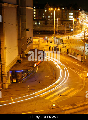 Evening on the busy Central square with the building of the Polybahn funicular railway, Zurich, Switzerland, Europe - Stock Photo