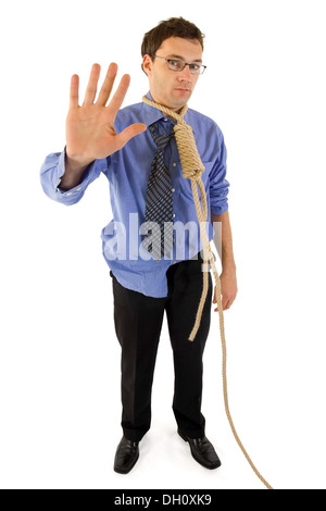 Sorrow businessman's with gallow rope last wave to the world before a difficult step in his life - Stock Photo