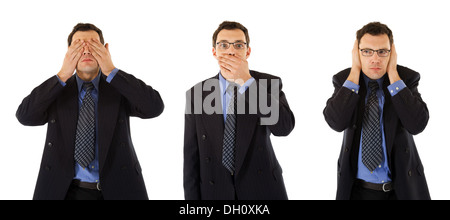 Good behavior of a successful businessman: Don't see, don't speak and don't hear anything - Stock Photo
