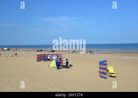 Beach view, Sutton-on-Sea, Lincolnshire, England, United Kingdom - Stock Photo