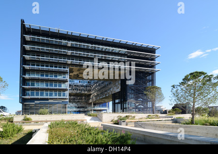 Southern Facade and Gardens of Montpellier Town Hall or City Hall with Exterior Window Blinds by Jean Nouvel Port - Stock Photo