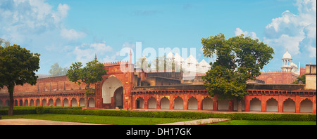 Panorama of Red Fort. India, Agra. - Stock Photo