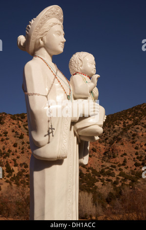 madonna and child kid sculpture statue El Santuario de Chimayo Roman Catholic church in New Mexico nm USA. is - Stock Photo