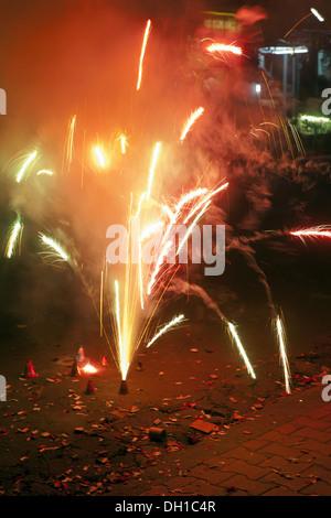 fire crackers on diwali festival Mumbai Maharashtra India Asia - Stock Photo