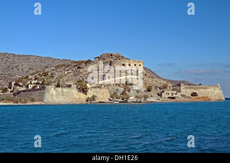 West bank of the island of Spinalonga, seen from the Gulf of Elounda, Crete, Greece - Stock Photo