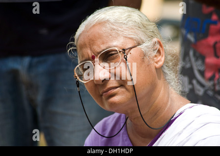 Medha Patkar is an Indian social activist and social reformer turned politician. She is the founder member of Narmada - Stock Photo