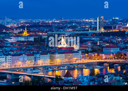 night cityscape, the Emmaus monastery, Prague, Czech Republic - Stock Photo