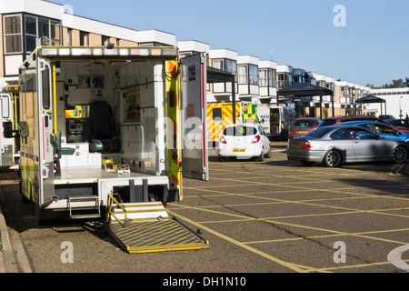 Ambulance empty after bringing a patient to the Queen Elizabeth Hospital, King's Lynn, Norfolk, England. - Stock Photo
