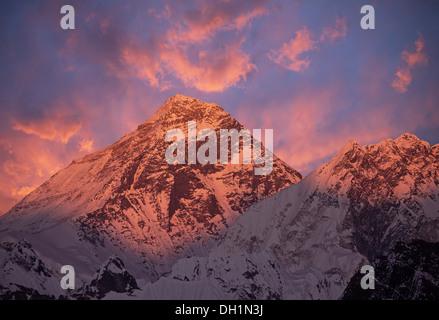 Mount Everest (8848 m) at sunset. Nepal, Himalayas. - Stock Photo