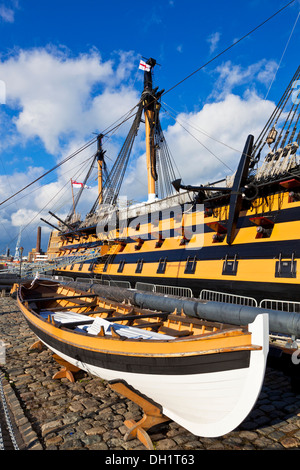 HMS Victory in the Portsmouth Historic Dockyard Portsmouth Hampshire England UK GB EU Europe - Stock Photo