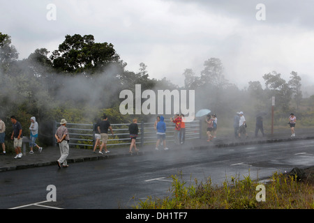 Tourists observing steam vents, hot springs, Hawaii Volcanoes National Park, Big Island, Hawaii, USA - Stock Photo