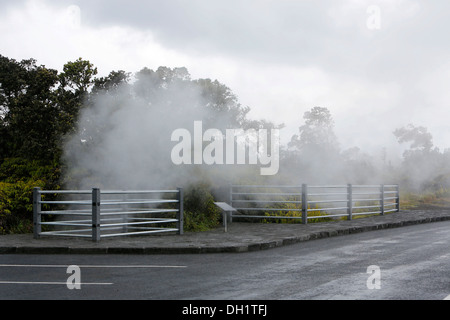 Steam vents, hot springs, Hawaii Volcanoes National Park, Big Island, Hawaii, USA - Stock Photo