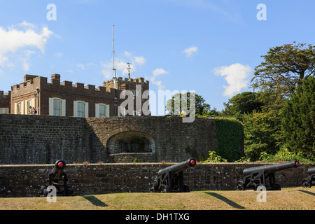 Henry VIII's 16th century Walmer Castle with cannons outside walls near Deal, Kent, England, UK, Britain
