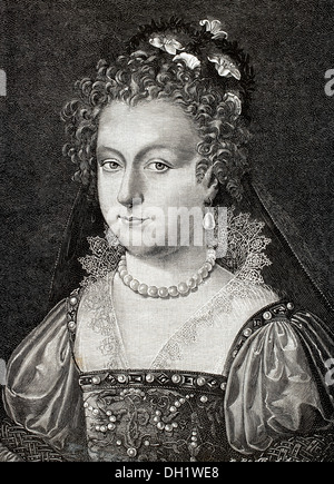 Elizabeth of York (1466-1503). Queen consort of England. Engraving by R. Bong. Universal History, 1885. - Stock Photo