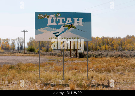 Welcome sign, Welcome to Utah, Utah, USA - Stock Photo