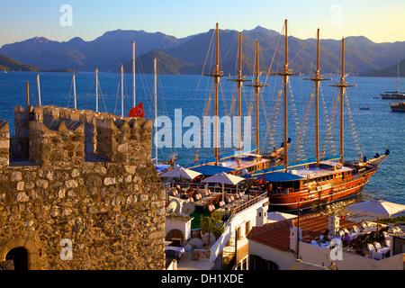 Restaurant and Harbour, Marmaris, Datcha Peninsula, Turkey, Asia. - Stock Photo