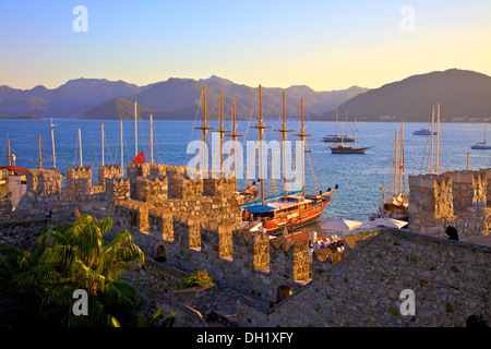 Marmaris Castle and Harbour, Marmaris, Datcha Peninsula, Turkey, Asia. - Stock Photo
