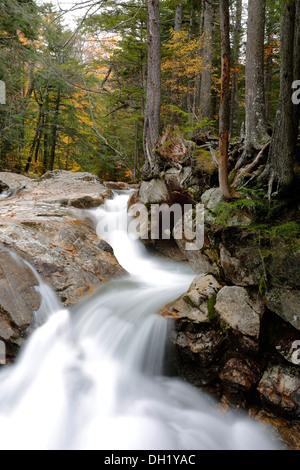 Basin Falls, Franconia Notch State Park, New Hampshire, USA - Stock Photo