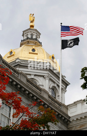 Dome, State House, Capitol in Concord, New Hampshire, USA - Stock Photo