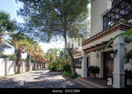 Tall tree beside large traditional villa in small coastal town in southern Spain - Stock Photo