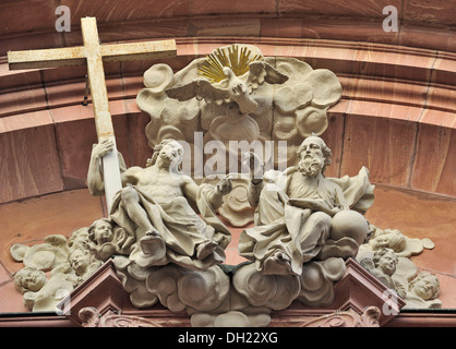 St Augustine Catholic Church, detail view of entrance, Augustinerstrasse 34, Mainz, Rhineland-Palatinate - Stock Photo