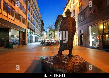 Zagreb, statue of Tin Ujevic in Varsavska street - Stock Photo