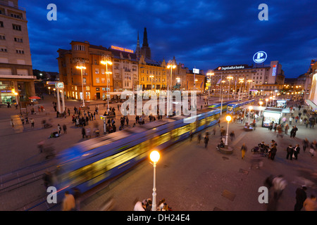Zagreb Jelacic square by night -  Square of Ban Josip Jelacic - Stock Photo