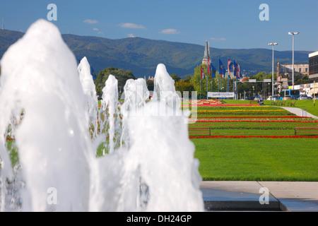 Zagreb, new fountain in Hrvatske Bratske Zajednice street - Stock Photo