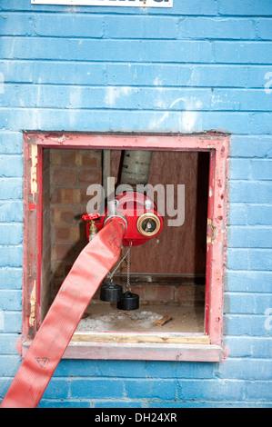 Fire Hose Dry Riser Inlet Valve High Rise Building Hose - Stock Photo