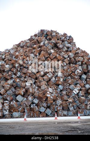Cubes Blocks Mountain scrap recycled cars metal - Stock Photo