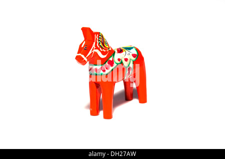 Dala horse, a swedish symbol carved of wood. - Stock Photo
