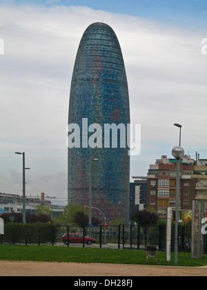 38-story skyscraper / tower ,The Torre Agbar, located  between Avinguda Diagonal and Carrer Badajoz, Barcelona, - Stock Photo