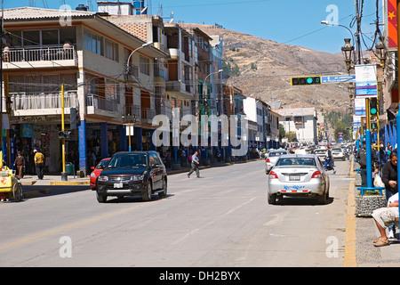 The main road running through Huaraz In Peru, South America. - Stock Photo