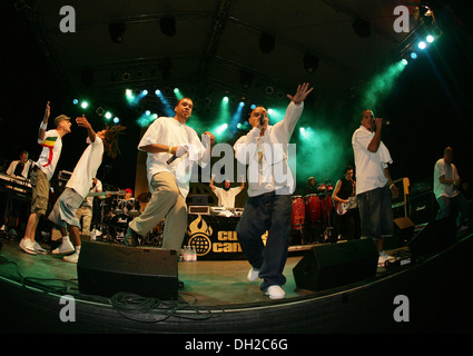 Berlin Hip Hop and Reggae band, Culcha Candela, performing during the Horizonte World Culture Festival at Festung - Stock Photo