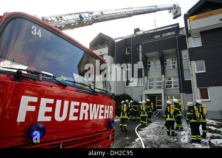 Firefighter operation, after a house fire in Linz, Rhineland-Palatinate - Stock Photo