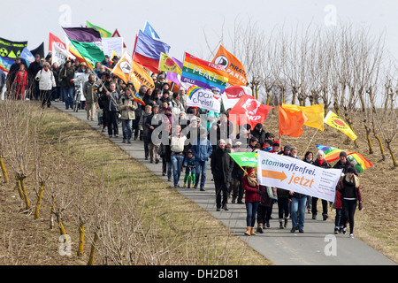 Easter peace demonstration at the aerodrome in Buechel, Büchel, Rhineland-Palatinate, Germany - Stock Photo