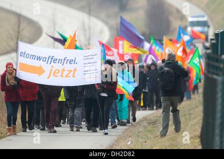 Easter peace demonstration at the aerodrome in Buechel, Büchel, Rhineland-Palatinate, Germany - Stock Photo