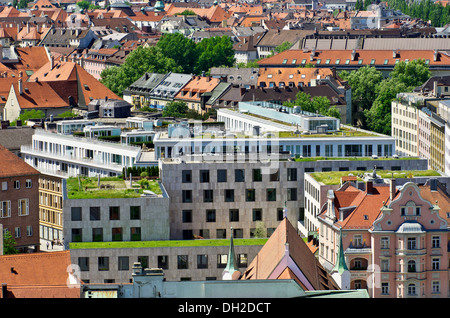 View from St. Peter's Church, Alter Peter, over the roofs of Munich, Upper Bavaria, Bavaria - Stock Photo